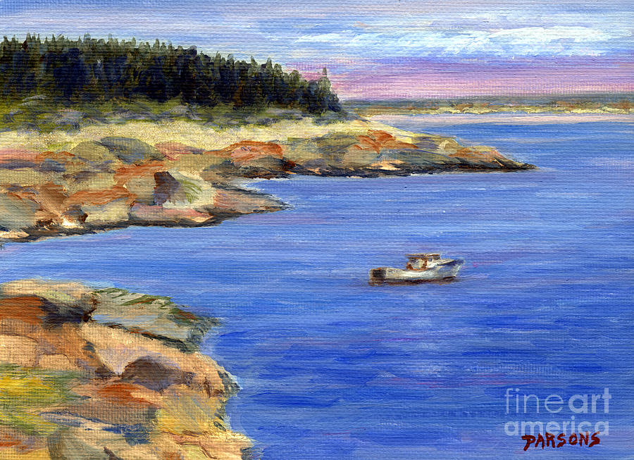 Lobster Boat In Jonesport Maine Painting