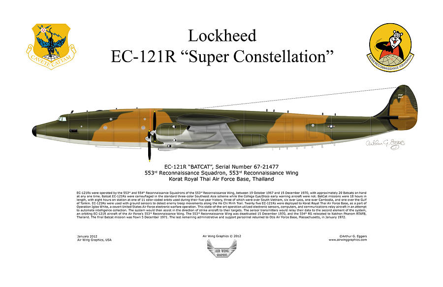 Lockheed Ec-121r 553rs Korat Rtafb Digital Art  - Lockheed Ec-121r 553rs Korat Rtafb Fine Art Print