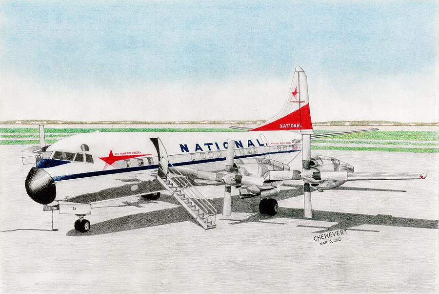 Commercial Airliner Drawing Drawing - Lockheed L-188 Electra by Marc Chenevert