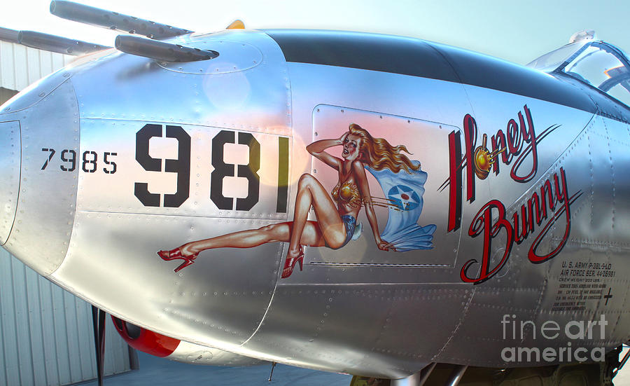 Lockheed P-38l Lightning Honey Bunny Nose Art - 05 Photograph  - Lockheed P-38l Lightning Honey Bunny Nose Art - 05 Fine Art Print