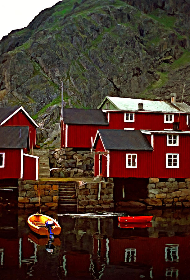 Lofoten Fishing Huts Oil Photograph