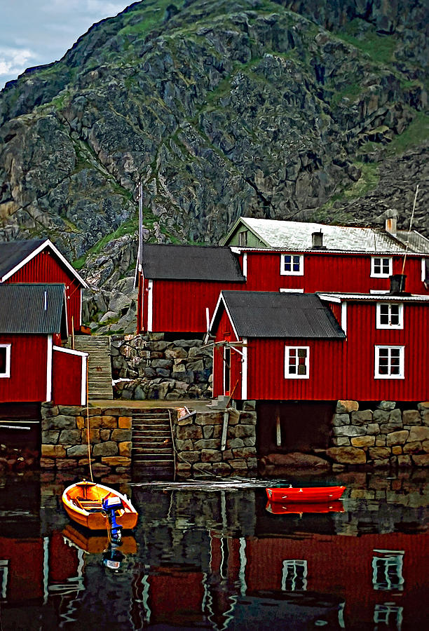 Lofoten Fishing Huts Photograph  - Lofoten Fishing Huts Fine Art Print