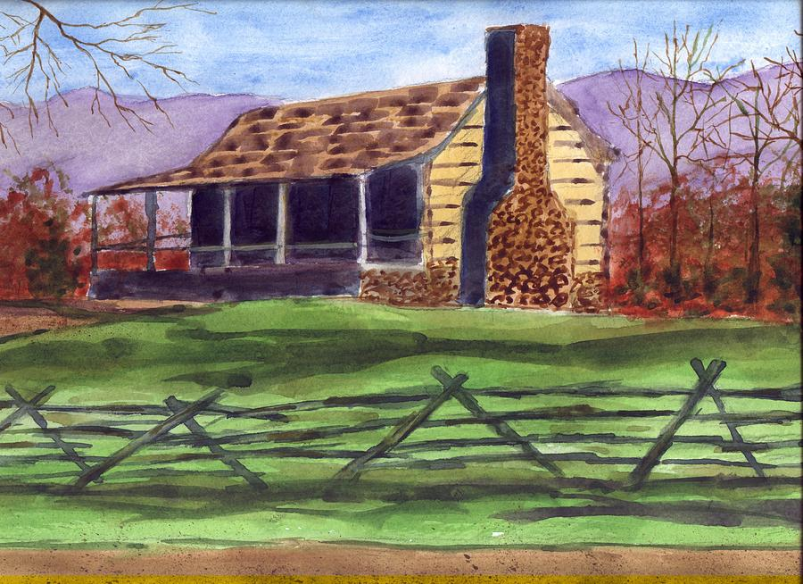 Log Cabin 2 Painting By John Helms