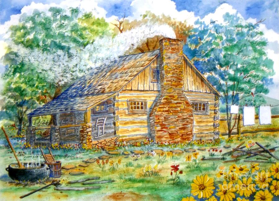 Log cabin painting by don hand for Log cabin painting