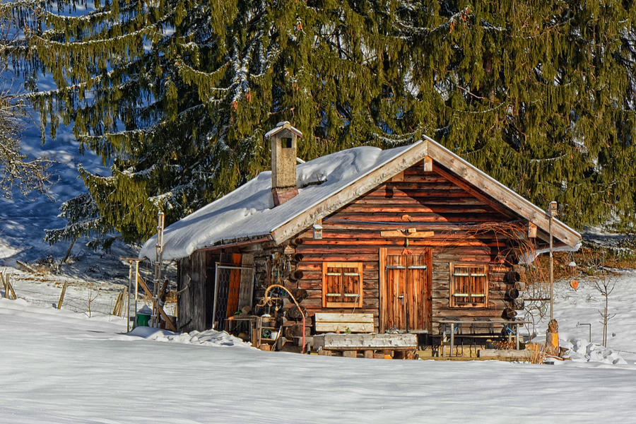 log cabin in winter mountains germany photograph by mountain dreams. Black Bedroom Furniture Sets. Home Design Ideas
