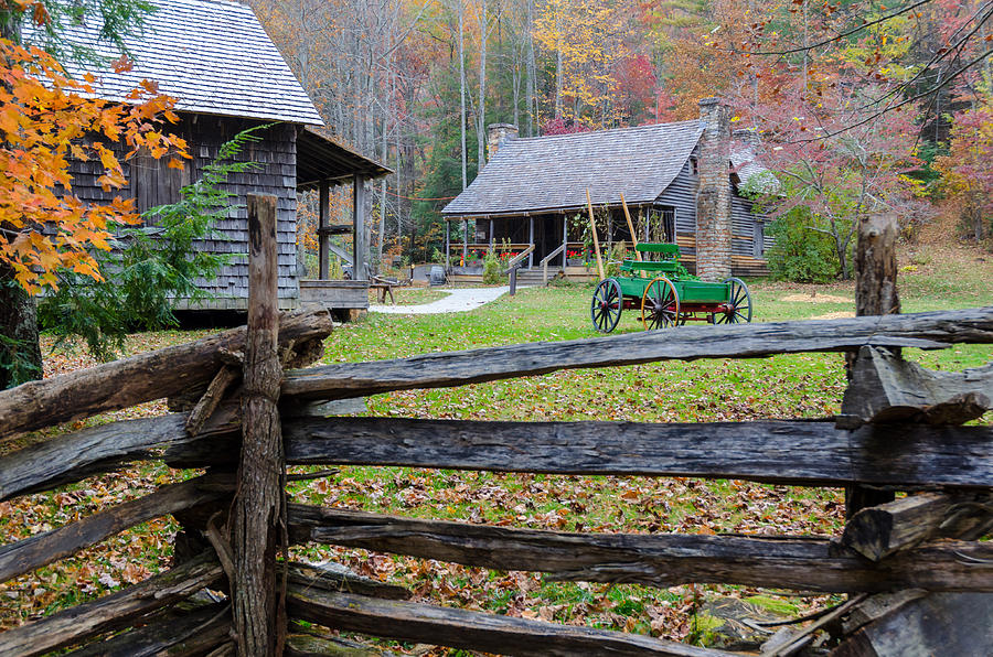 Log Cabin Picket Fence Photograph By Terry Hopkins