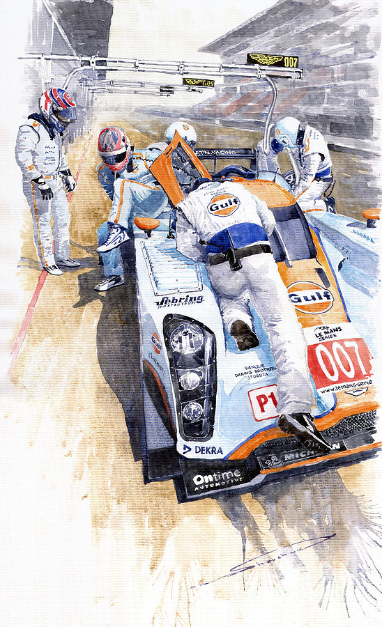 Lola Aston Martin Lmp1 Gulf Team 2009 Painting  - Lola Aston Martin Lmp1 Gulf Team 2009 Fine Art Print