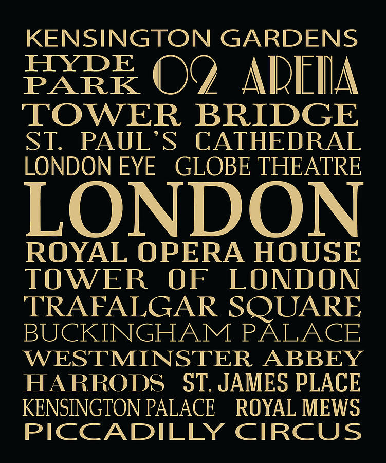 Typography Digital Art - London Attractions by Jaime Friedman