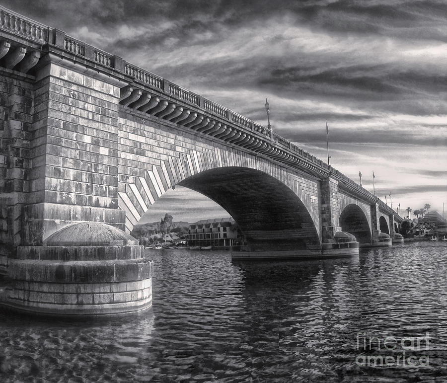London Bridge In Black And White Photograph