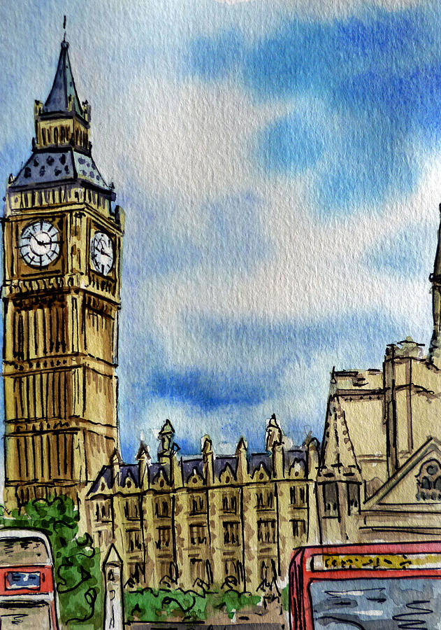 London England Big Ben Painting  - London England Big Ben Fine Art Print