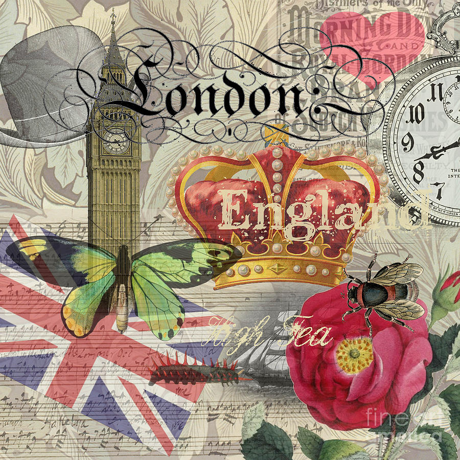 London England Vintage Travel Collage Digital Art by Mary