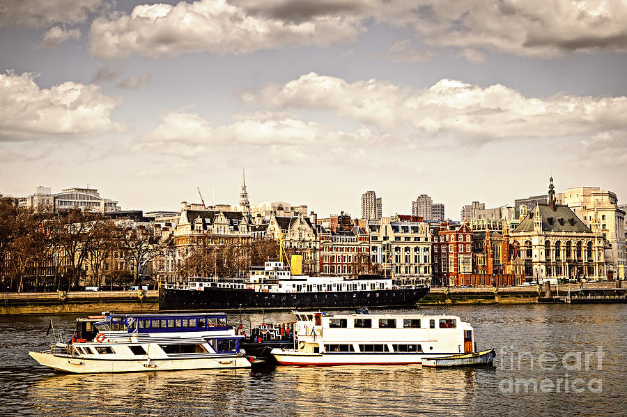 London From Thames River Photograph