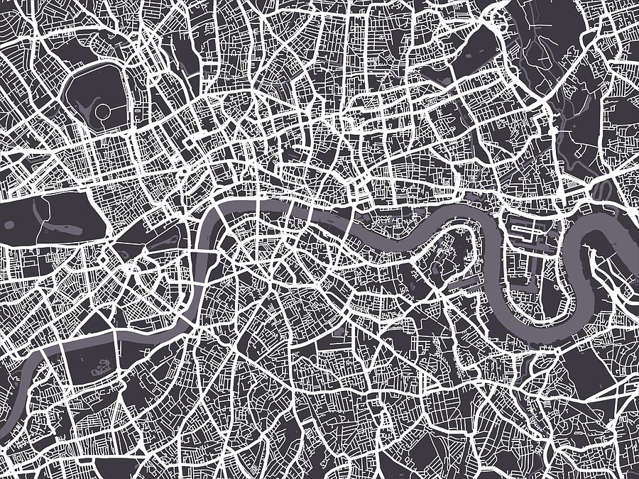 London Map Art Digital Art  - London Map Art Fine Art Print