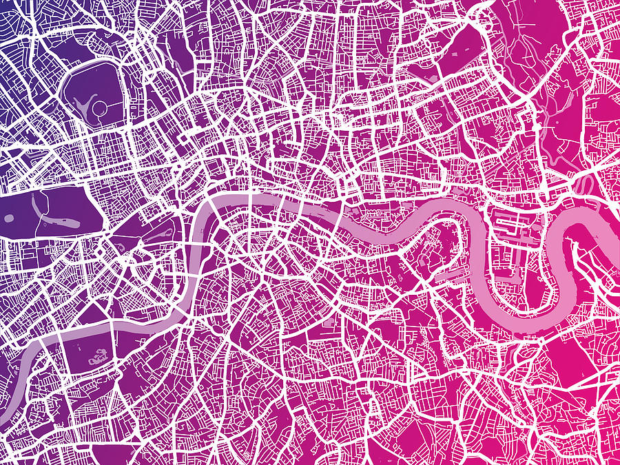 London Map Red Digital Art