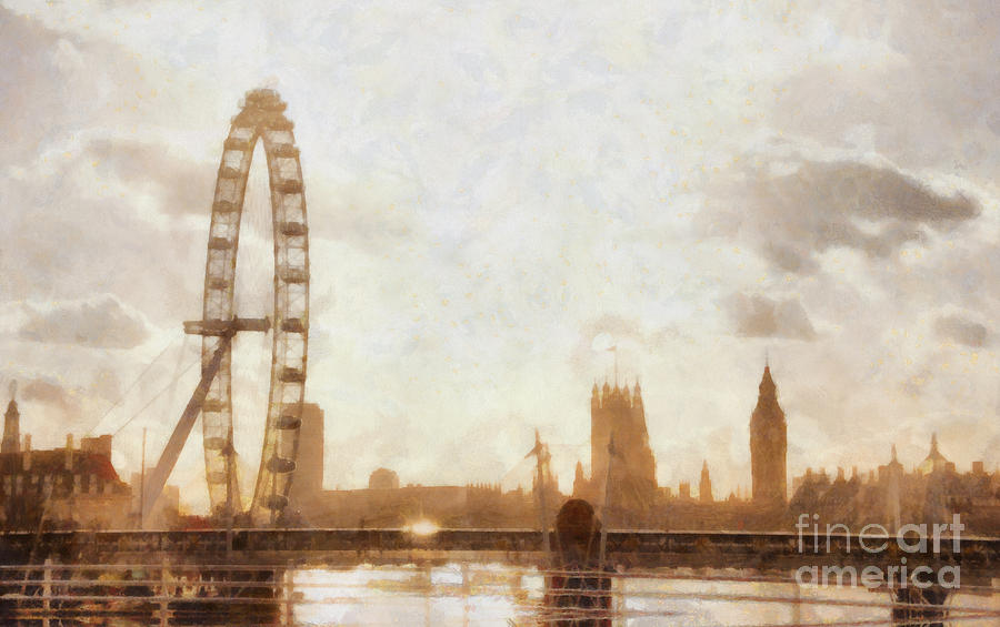 London Skyline At Dusk 01 Painting
