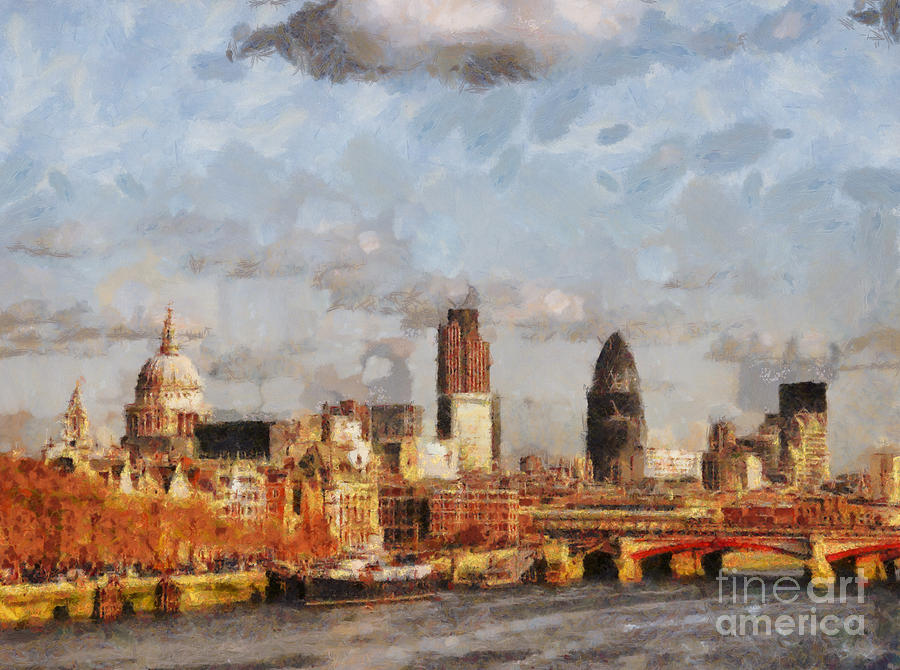 London Skyline From The River  Painting
