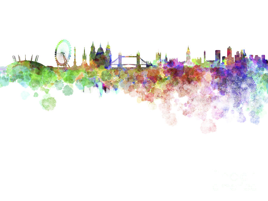 London Skyline In Watercolor Over White Background Painting by Pablo Romero