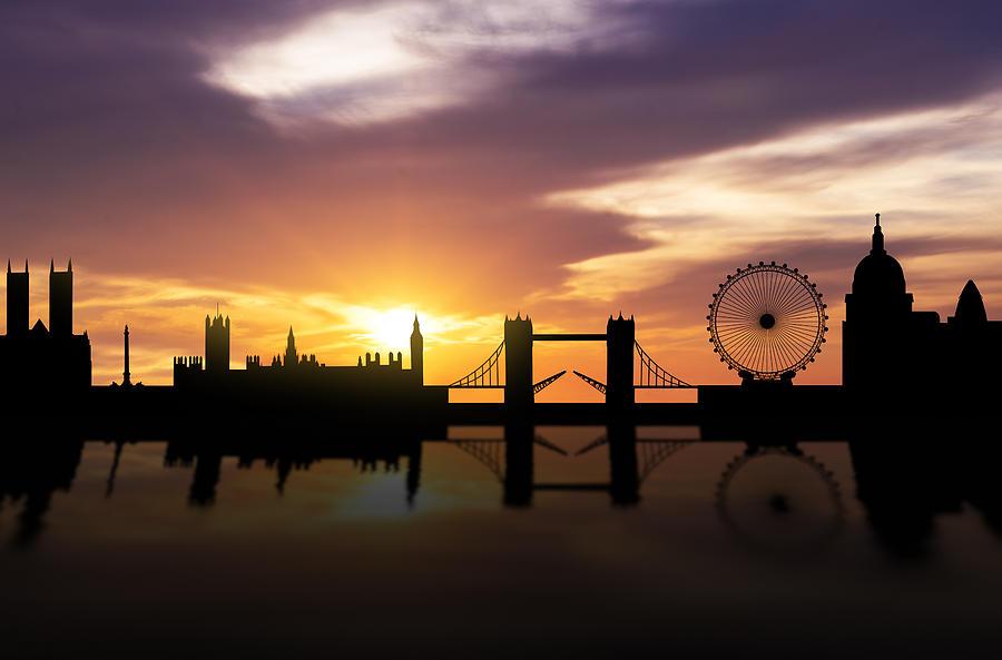 London Sunset Skyline Photograph