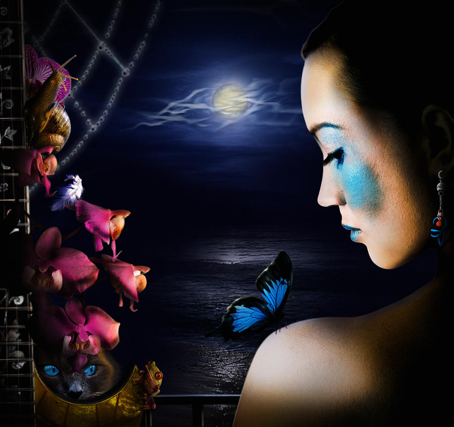 Lonely Blue Princess And The Villains Digital Art  - Lonely Blue Princess And The Villains Fine Art Print