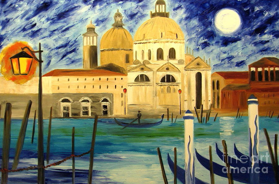 Landscape Painting - Lonely Gondolier by Mariana Stauffer