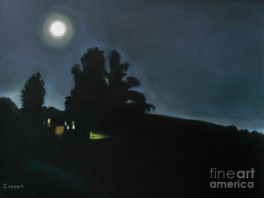 Lonely House And The Moon Painting