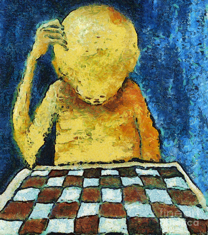 Lonesome Chess Player Digital Art  - Lonesome Chess Player Fine Art Print