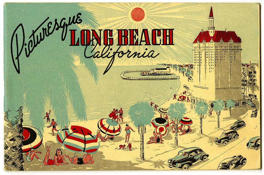 1946 Digital Art - Long Beach 1946 by Georgia Fowler