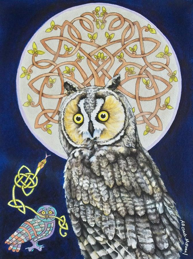 Long Eared Owl Painting  - Long Eared Owl Fine Art Print