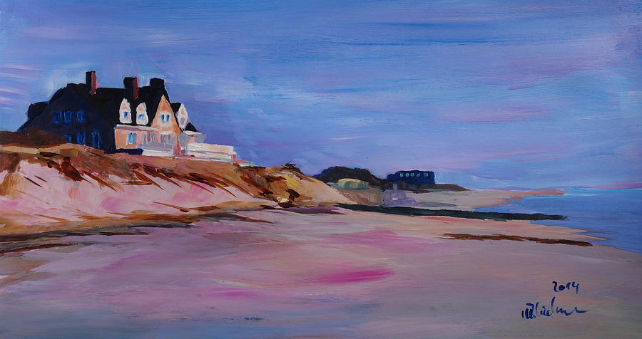 Long Island Beach Scene Hamptons South Fork Beach Walk With House I Painting By M Bleichner