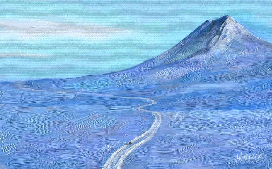 Winter Landscape Painting - Long Winter by Marina Likholat