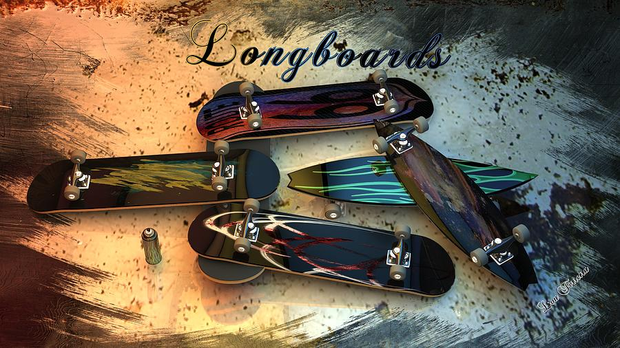 Longboards Digital Art - Longboards by Louis Ferreira