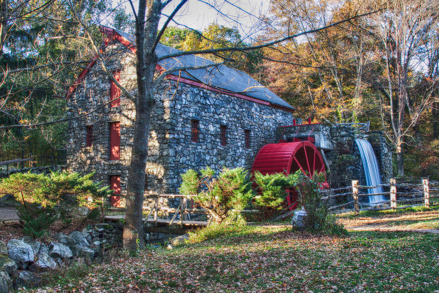 Longfellows Wayside Inn Grist Mill In Autumn Photograph