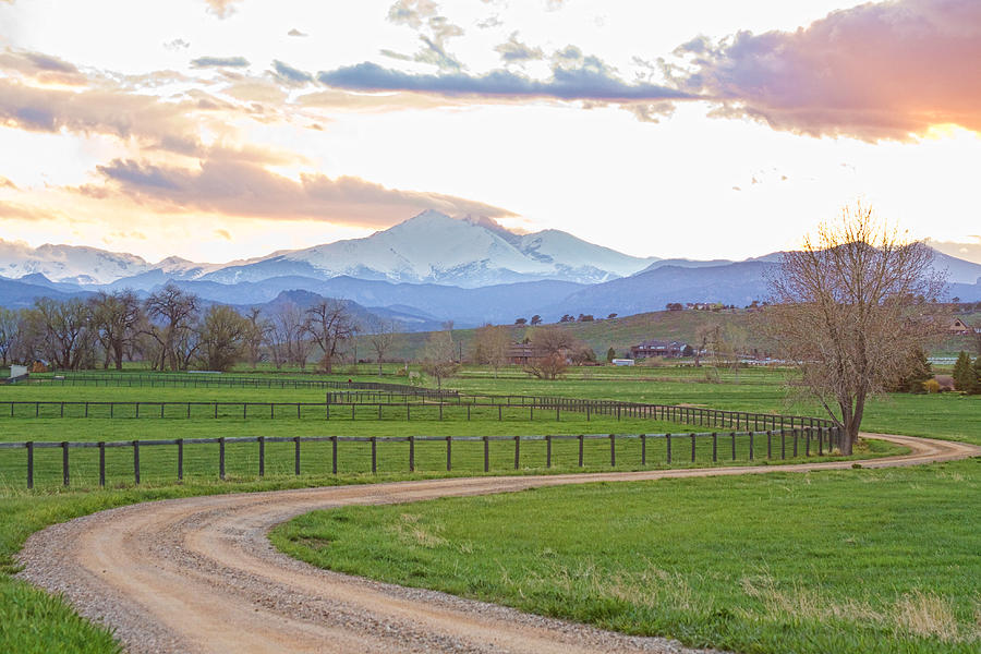 Longs Peak Springtime Sunset View  Photograph  - Longs Peak Springtime Sunset View  Fine Art Print