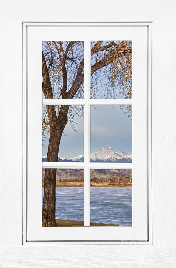 Longs Peak Winter View Through A White Window Frame Photograph