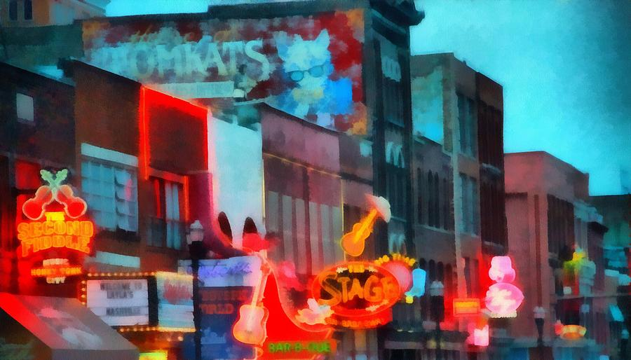 Looking Down Broadway In Nashville Tennessee Painting