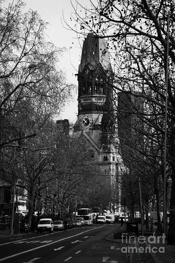 looking down Kurfurstendamm towards Kaiser Wilhelm Gedachtniskirche memorial church Berlin Germany Photograph  - looking down Kurfurstendamm towards Kaiser Wilhelm Gedachtniskirche memorial church Berlin Germany Fine Art Print