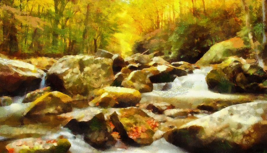 Looking Down Little River In Autumn Painting
