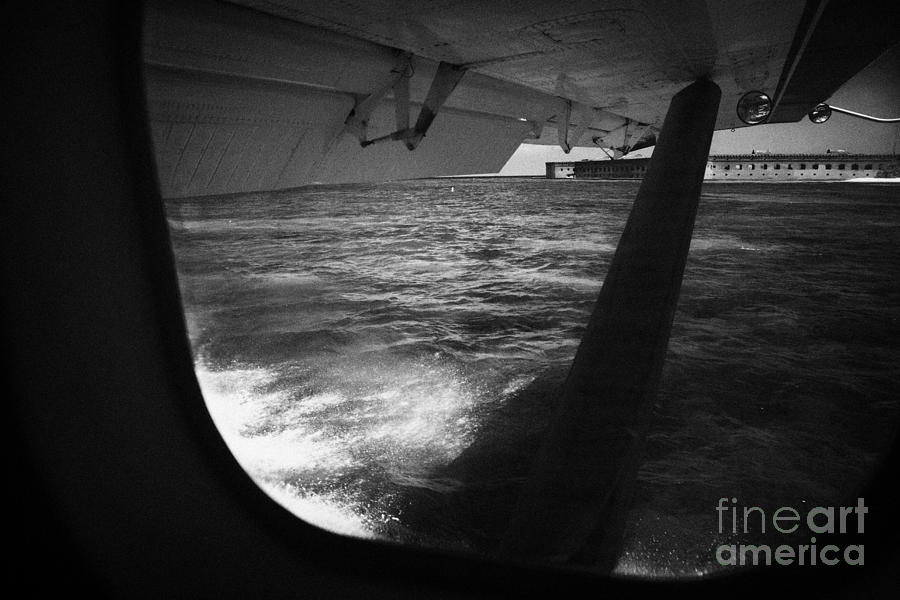 Looking Out Of Seaplane Window Landing On The Water Next To Fort Jefferson Garden Key Dry Tortugas F Photograph  - Looking Out Of Seaplane Window Landing On The Water Next To Fort Jefferson Garden Key Dry Tortugas F Fine Art Print
