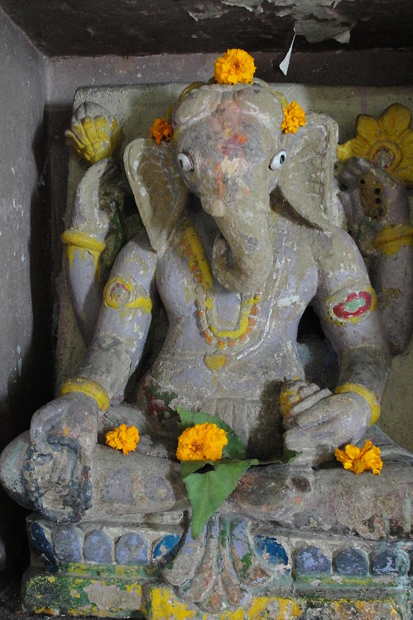 Lord Ganesha At Shiv Temple  Sculpture - Lord Ganesha by Makarand Kapare