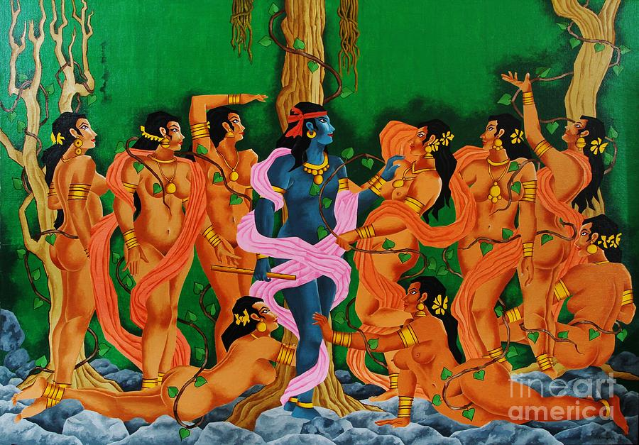 Lord Krishna With Gopis by Narayanankutty Kasthuril