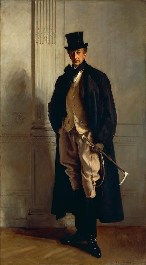 Male; Man; Portrait; Top Hat; Crop; Coat; Full Length; Politician; Aristocracy Painting - Lord Ribblesdale by John Singer Sargent