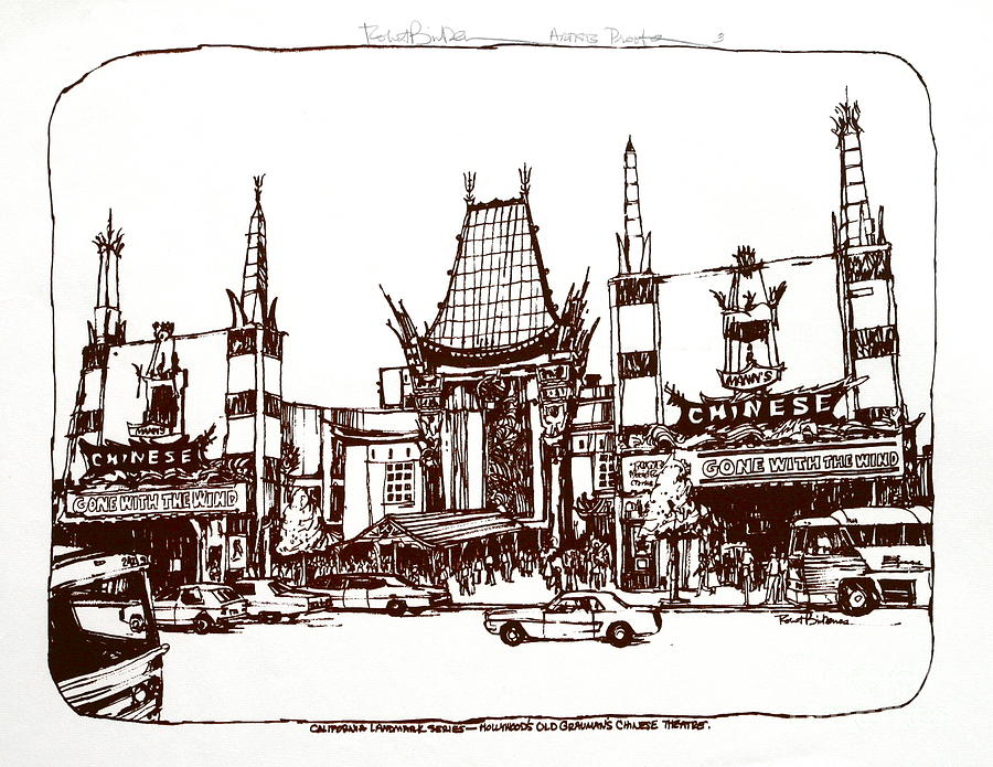 Los Angeles Chinese Theater Drawing  - Los Angeles Chinese Theater Fine Art Print