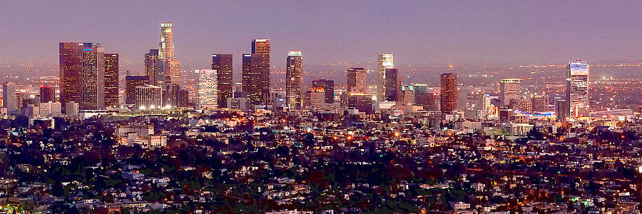 Los Angeles Skyline At Dusk Photograph