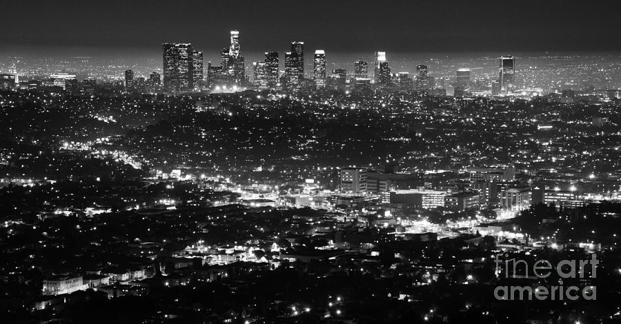 Los Angeles Skyline At Night Monochrome Photograph  - Los Angeles Skyline At Night Monochrome Fine Art Print