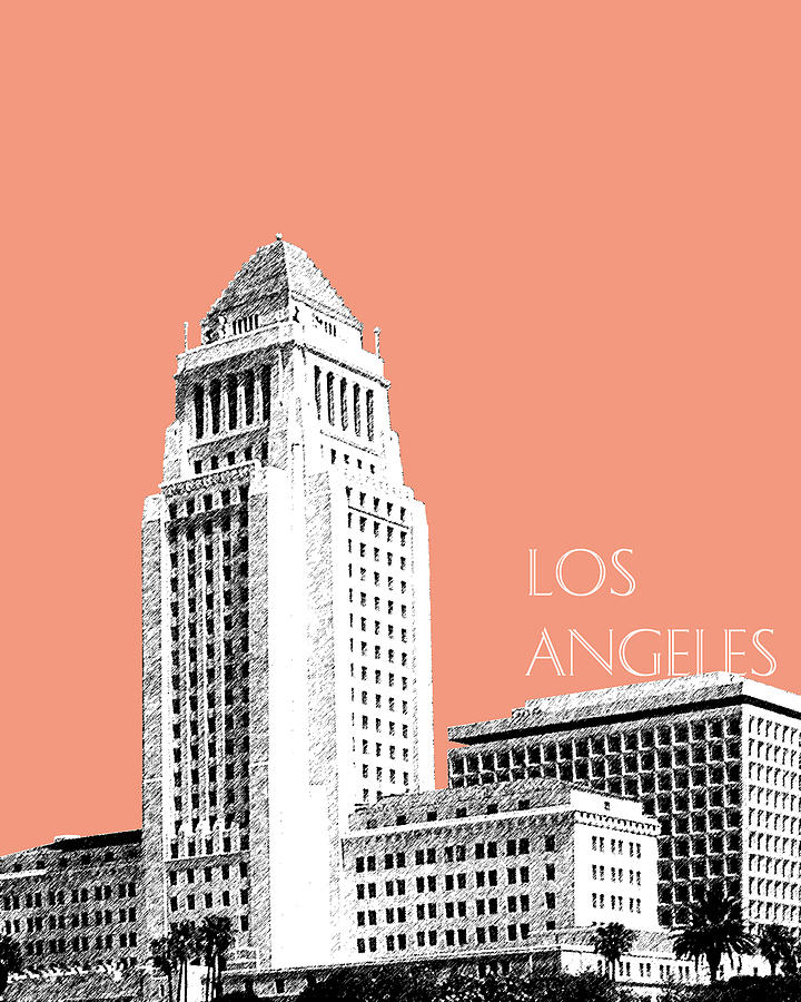 Los Angeles Skyline City Hall - Salmon Digital Art