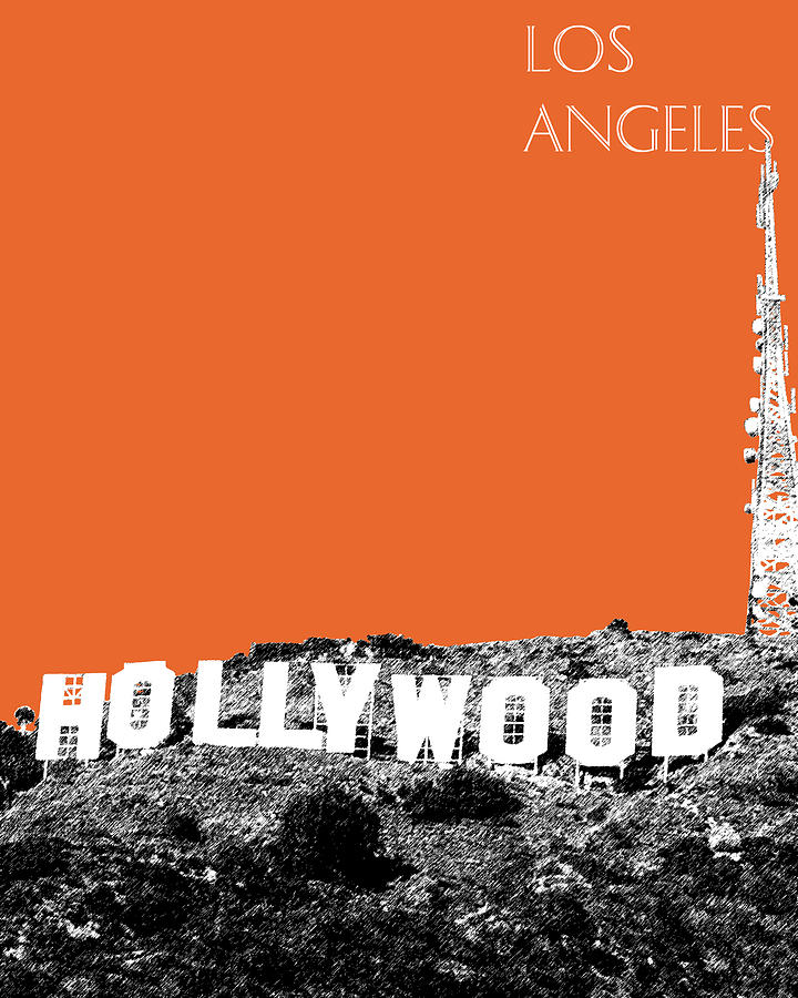 Los Angeles Skyline Hollywood Sign - Coral Digital Art