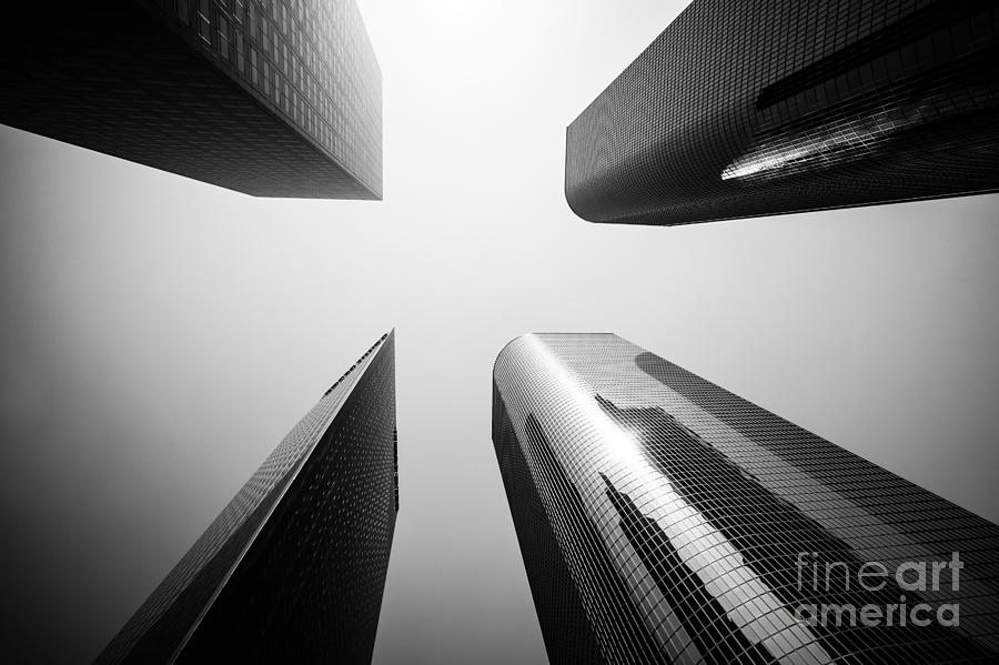 Los Angeles Skyscraper Buildings In Black And White Photograph  - Los Angeles Skyscraper Buildings In Black And White Fine Art Print