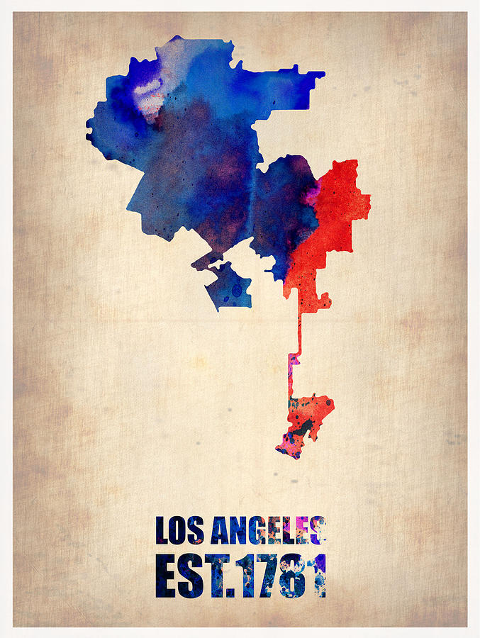 Los Angeles Watercolor Map 1 Digital Art  - Los Angeles Watercolor Map 1 Fine Art Print