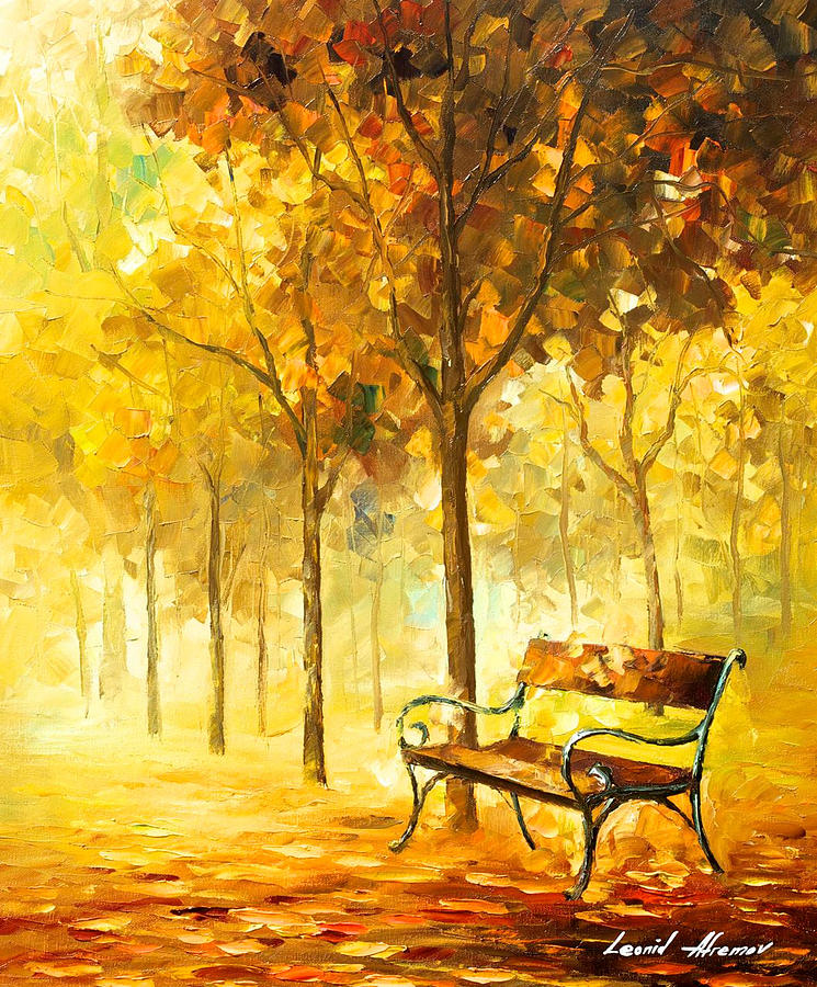 Lost Bench 2 - Palette Knife Oil Painting On Canvas By ...
