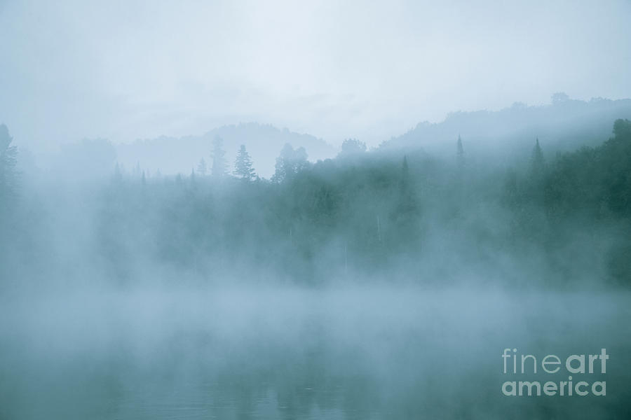 Lost In Fog Over Lake Photograph